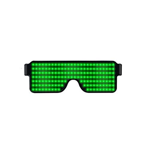 EONLYX LED Glasses, LED Party Glasses Light Up Eyeglasses Multicolor LED Luminous Glasses with 8 Modes for Nightclubs, DJ, Concert, Halloween, Birthday Parties (Green)