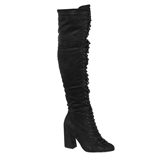 [Beston EJ60 Women's Chic Lace Up Block Heel Over The Knee High Combat Boots, Color:BLACK, Size:9] (Sexy Combat Boots)