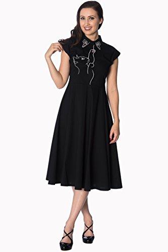 Retro Jahre Meow Fünfziger Rockabilly Schwarz Vintage Kleid Langes weiß Banned SC oder 7dEwqIp7