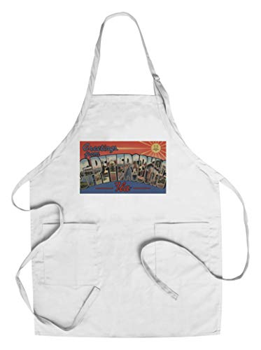 6812 Ap - Greetings from St. Petersburg, Florida - Sun Background (Cotton/Polyester Chef's Apron)