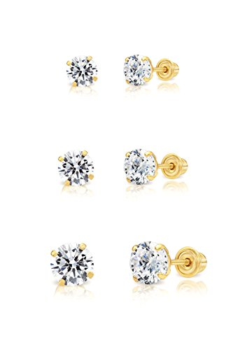 14k Yellow Gold Solitaire Round Cubic Zirconia Stud 3 Pair Earring Set (3mm, 4mm, 5mm)