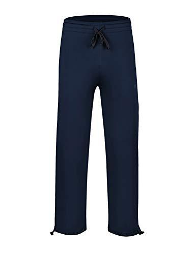 EZRUN Youth Boy's Fleece Lined Pants Elastic Waistband Zip Pockets Sweatpants(Navy,L)