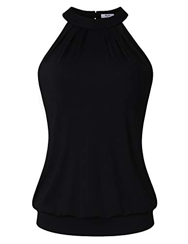 Diphi LiLi Camisole Women Girls Flowy Tank Top Cute Sleeveless Summer Pleated Slim Fit Tunic Stylish Designed Cami Shopping Street Casual Shirt Black Medium