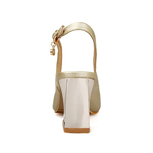 Buckle Color Pu Assorted Peep WeenFashion High Heels Sandals Women's Gold Toe 5nqwgwx8H7