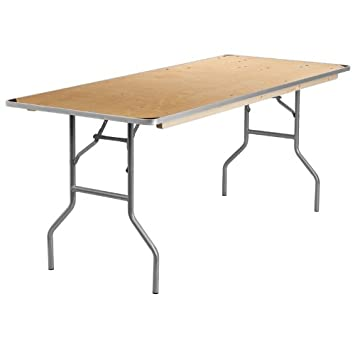 Flash Furniture 30u0027u0027 X 72u0027u0027 Rectangular HEAVY DUTY Birchwood Folding  Banquet Table