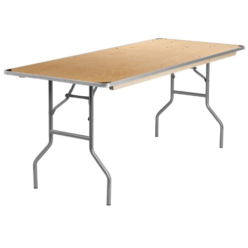 Flash Furniture 30'' x 72'' Rectangular HEAVY DUTY Birchwood Folding Banquet Table with METAL Edges and Protective Corner Guards ()