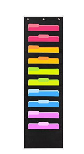 Heavy Duty Storage Pocket Chart with 10 Pockets, 3 Over Door Hangers included, Hanging Wall File Organizer by Hippo Creation - Organize Your Assignments, Files, Scrapbook Papers & More (Black)