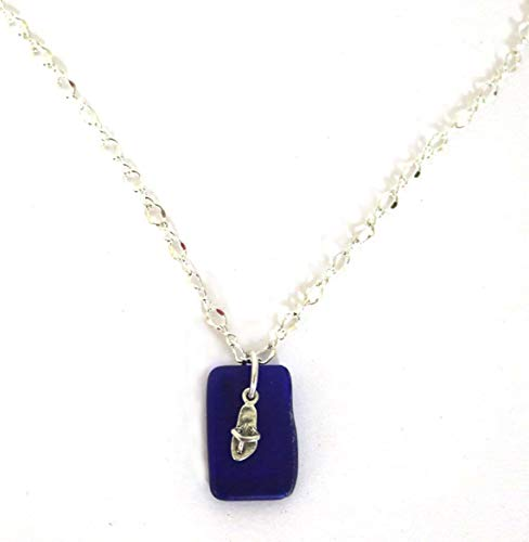 Flip Flop Charm Necklace Beach Glass Pendant Sandals Sterling Silver Blue