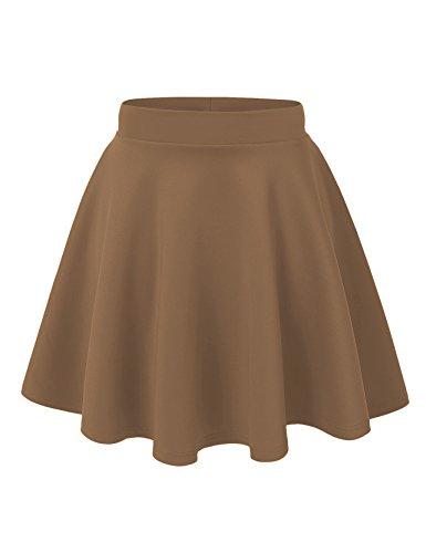 Women's Basic Solid Versatile Stretchy Swing Mini Skater Skirt (Small, Mocha)