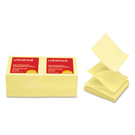 (Universal Fan-Folded Self-Stick Pop-Up Note Pads, 3 x 3, Yellow - 1200 Sheet Per Pack)