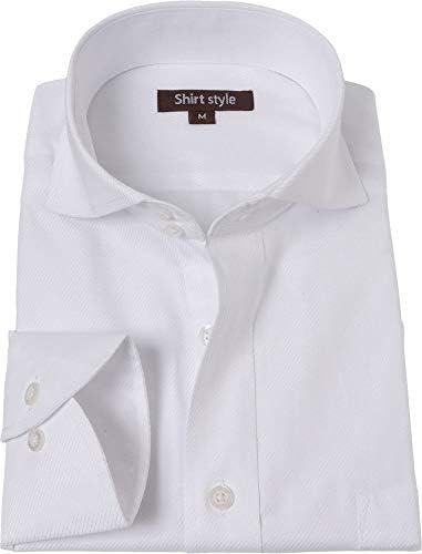 シャツスタイル(shirt style)ワイシャツ メンズ ホリゾンタル スリム ドゥエボットーニ 白ドビー/F-7