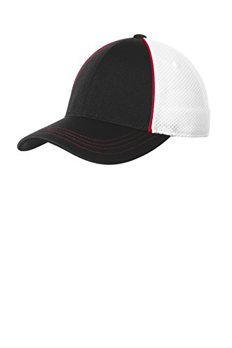 Piped Mesh - Sport-Tek Piped Mesh Back Cap STC29 True Red/Black/White One Size