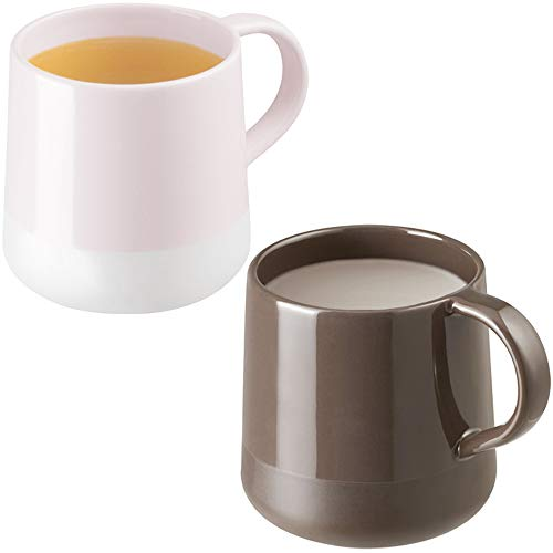 ZENS Porcelain Coffee Mugs Set of 2,Gloss-Matte Finish Ceramic Tea Mugs Cups Set,13.5oz Large Office Tea or Coffee Cups for Women Men Couples,Pink & Brown