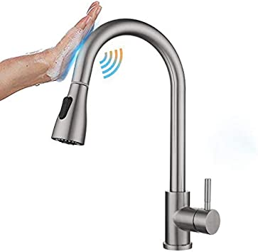 Kitchen Tub Sink Faucets with Pull down Sprayer Stainless Steel Touch Sensor