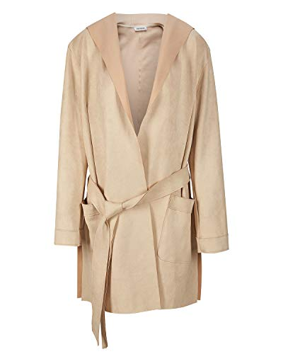 - NOBLEMOON Women's Hooded Outwear Cardigan Long Sleeve Medium Length Trench Coat Suede (Medium, Beige) ...