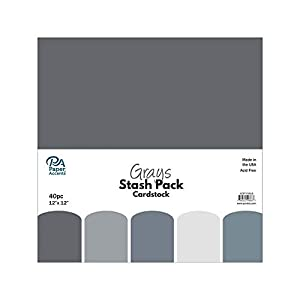 Paper Accents 40pc Stash Pack 12×12 Grays
