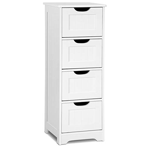 et Bathroom Wooden Storage Cabinet Living Room Modern Home Furniture Free Standing Storage Cabinet Side Organizer with Drawers(White) (4 Drawers) ()