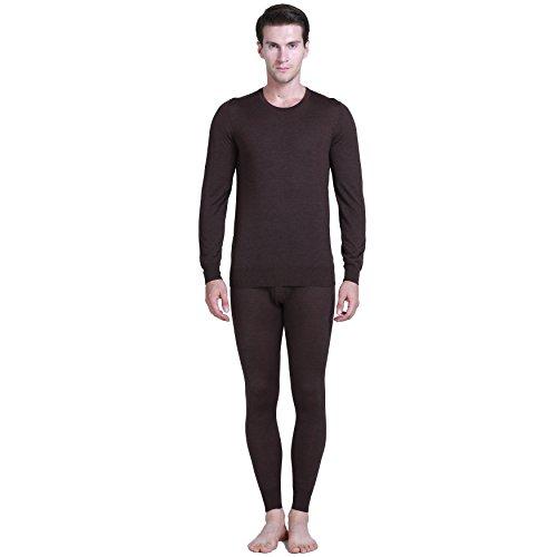 Paradise Silk 85% Silk 15% Cashmere Knit Men Thermal Long Johns Set M Dark Coffee