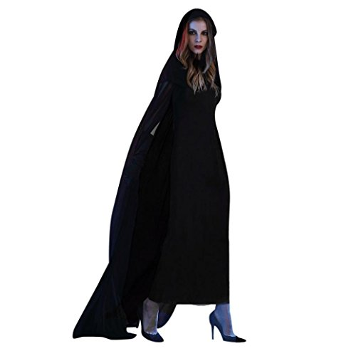Hot Halloween Costume!Elevin(TM)Women Adult Party Props Cosplay Lace Corpse Bride Cloak Witch Dress+Hat (M, Black)]()