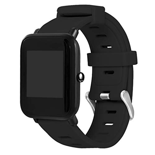 Watch Band for Huami Amazfit Bip Youth Lite,Quick Release Replacement Soft Silicone Watch Band Lightweight Bracelet Sports Wrist Strap for Huami Amazfit Bip Youth Lite (Black)