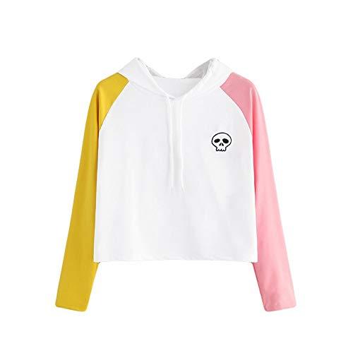 - Women's Pullover, Long Sleeve Stitching Skull Print Hoodie ANJUNIE Drawstring Raglan Sweatshirt(Whtie,XL)