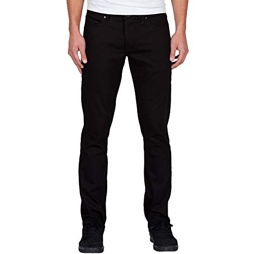 Volcom Men's Vorta Slim Fit Stretch Denim Jean, Black on Bla