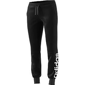 adidas Women's Essentials Linear Pants, Black/White, Medium