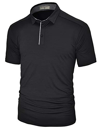 (Derminpro Men's Golf Polo Shirts Short Sleeve Quick Dry Performance Athletic T-Shirts Black X-Large)