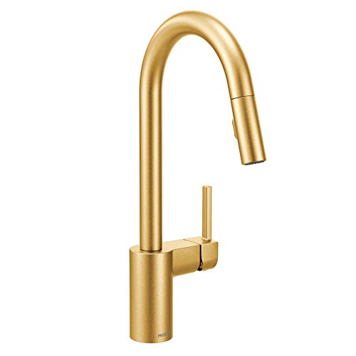 Moen 7565BG Align One-Handle Modern Kitchen Pulldown Faucet with Reflex and Power Clean Spray Technology, Brushed Gold ()