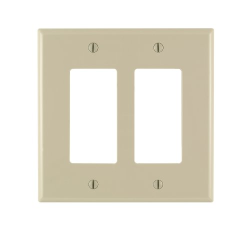 Leviton 86602 2-Gang Decora/GFCI Device Wallplate, Oversized, Thermoset, Device Mount, Ivory