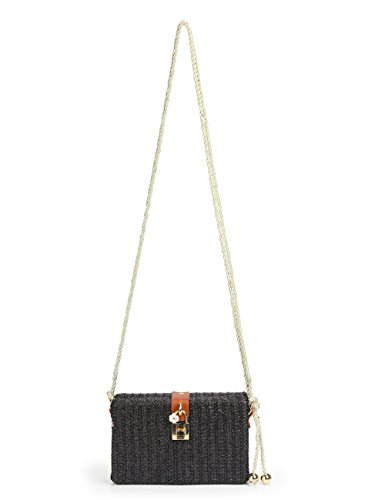 Straw Bag Crossbody Box for Women with Flower Lock Rope Strap ()