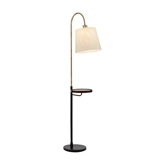 Rivet Franklin Living Room Standing Floor Lamp and Shelf with USB Charging Port and Light Bulb -  65 Inches, Metal and Wood - This three-in-one table floor lamp provides warm lighting, a shelf for your coffee, and a USB port for your phone. This functional and stylish piece will help you keep order in your hectic life. Comfortable and classy style Sleek matte black/antique brass finish - living-room-decor, living-room, floor-lamps - 31ZZ5O4VJaL. SS570  -