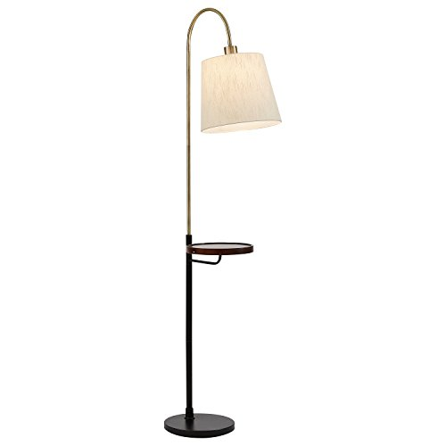 Rivet Franklin Shelf and USB Charging Station Floor Lamp, 65''H, With Bulb, Brass, Black Metal and Wood by Rivet
