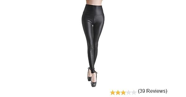 b660b54aa Ostenx Leggings de Piel Mujer Elásticos de Moda de PU Pantalones Largos y  Delgados de Imitación de Cuero de Talla S/M/L con Visión Atraída de ...