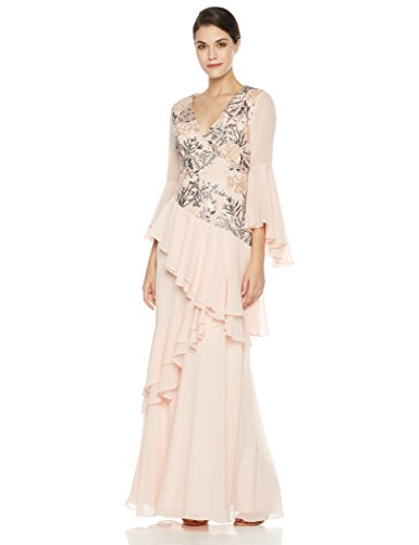 Social Graces Women's V-Neck Long Bell Sleeve Floral Embroidery Ruffle Drape Evening Gown