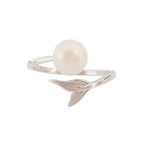 ELAINZ HEART elegant ladies pearl rings adjustable for girlfriend, 925...