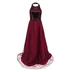 Women's Halter Sleeveless Sequins Patchwork Chiffon Gown