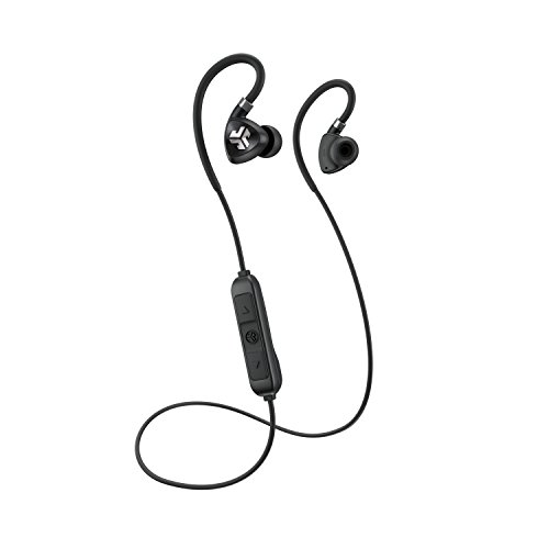 JLab Audio Fit 2.0 Bluetooth Wireless Sport Earbuds – Black – Titanium 10mm Drivers 6 Hour Battery Life Bluetooth 4.1 IP55 Sweat Proof Rating Extra Gel Tips Flexible Memory Wire