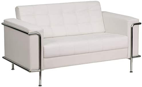 Flash Furniture HERCULES Lesley Series Contemporary White LeatherSoft Loveseat
