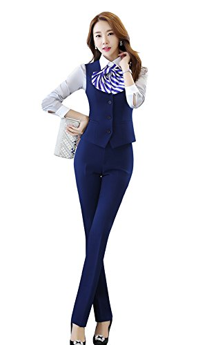 Oncefirst Women's Business Slim Fit Solid Color Suits Set by ONCEFIRST