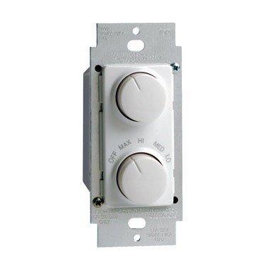 Leviton RTD01-10W IllumaTech 1.5A 300W Rotary Combo Fan Speed Dimmer Control, Single-Pole, White