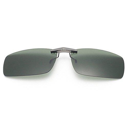 Tacloft Unisex Rectangle 57mm Polarized Clip on Sunglasses CLIPON2015 G15