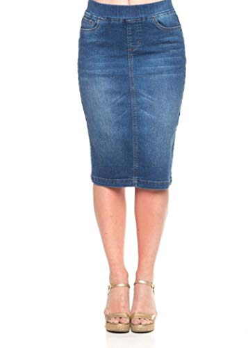 - GoModest Women's Midi Casual Modest Knee Length Denim Jean Pencil Skirt (Extra Small)