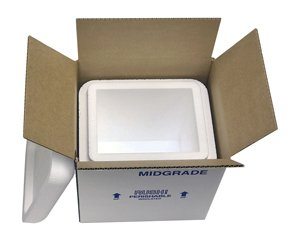 "Midgrade Foam Cooler Mailer, Insulated Shipper, 8 Quarts, 8"" x 6"" x 9"
