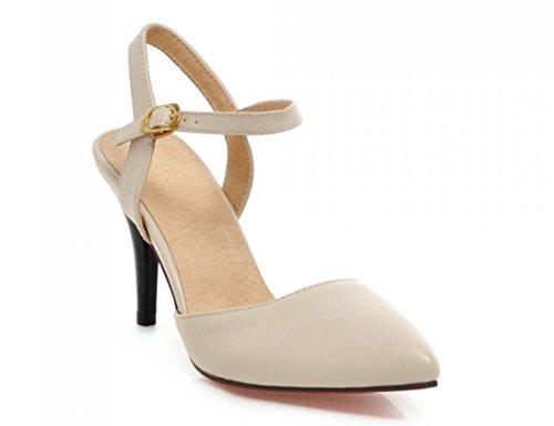 SHFANG Sandalias de las señoras Pointy toe Heels 31-43 Zapatos profesionales Trabajo Shopping Party Negro Beige Rosa 7cm Beige