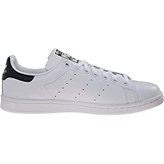 adidas Originals Men's Stan Smith Leather Sneaker, White White Dark Blue, 8.5