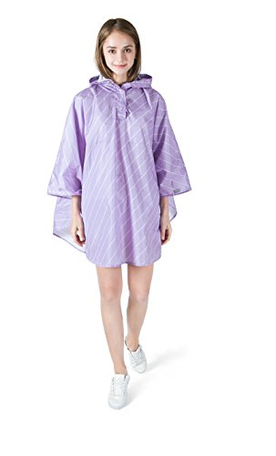 Price comparison product image AIRCEE Lady's Kid Rain Coat Hooded Waterproof Raincoat Poncho Packable Batwing Sleeve Line Design (Adult 55'' X 49'', Adult Purple)