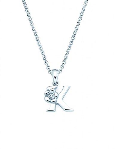 Little Diva Diamonds 925 Sterling Silver 0.01 Ctw. Diamond Accent Initial Pendant Necklace for Girls - Letter K
