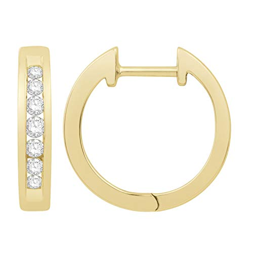 1/4 ct. tw. Round Open Channel Set Diamond Huggie Hoop Earrings with Click Backs in 10K Yellow Gold - JX7583-RP10Y