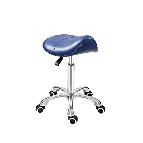Grace & Grace Professional Saddle Stool Series Hydraulic Swivel Comfortable Ergonomic with Heavy Duty Metal Base for Clinic Dentist Spa Massage Salons Studio (Premium Blue)